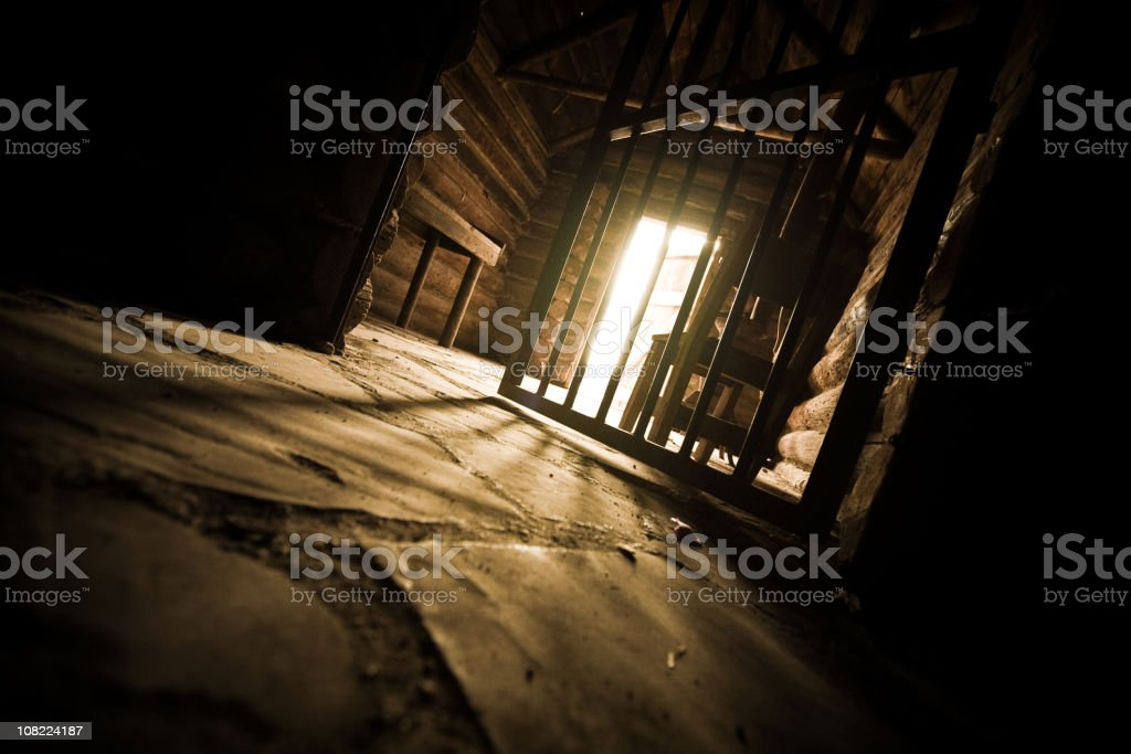 Low angle view of open prison cell stock photo