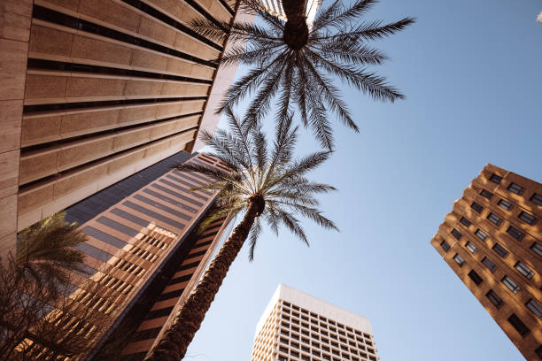 low angle view of Phoenix downtown stock photo