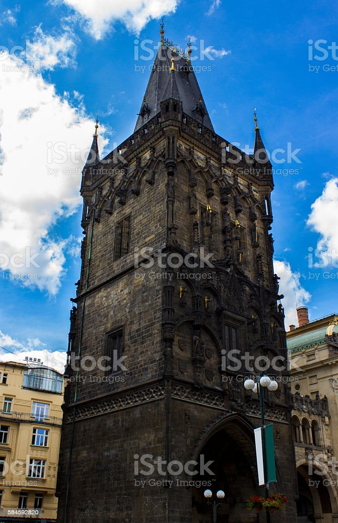 Low angle view of  Powder Tower (Prasna Brana) in Prague stock photo