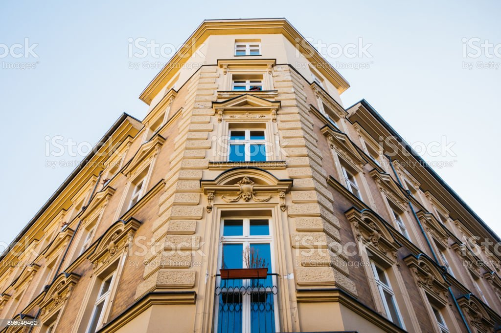low angle view of residential corner building stock photo