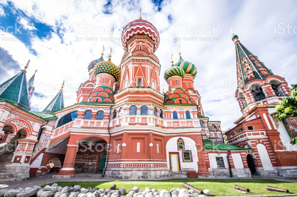 Low Angle View Of Saint Basil Cathedral In Moscow, Russia stock photo