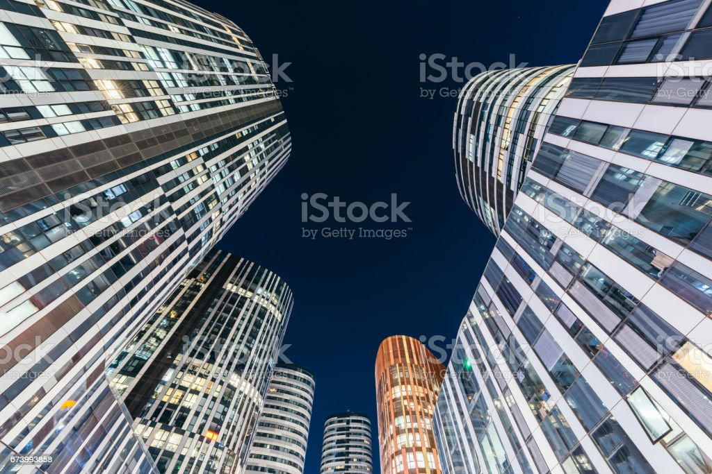 Low Angle View of Skyscrapers in Downtown at Night, Beijing, China stock photo