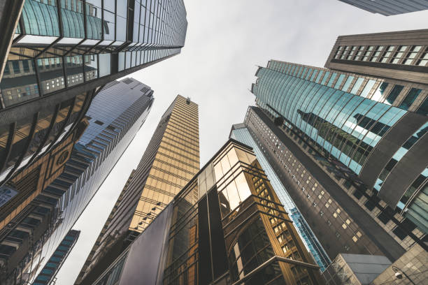 Low Angle View of Skyscrapers in Hong Kong stock photo