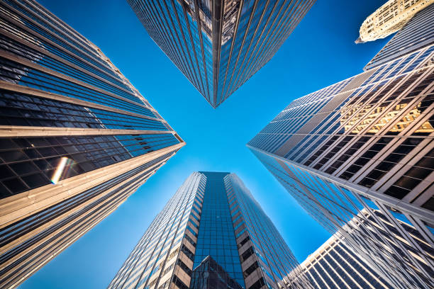 Low angle view of skyscrapers in New York City stock photo