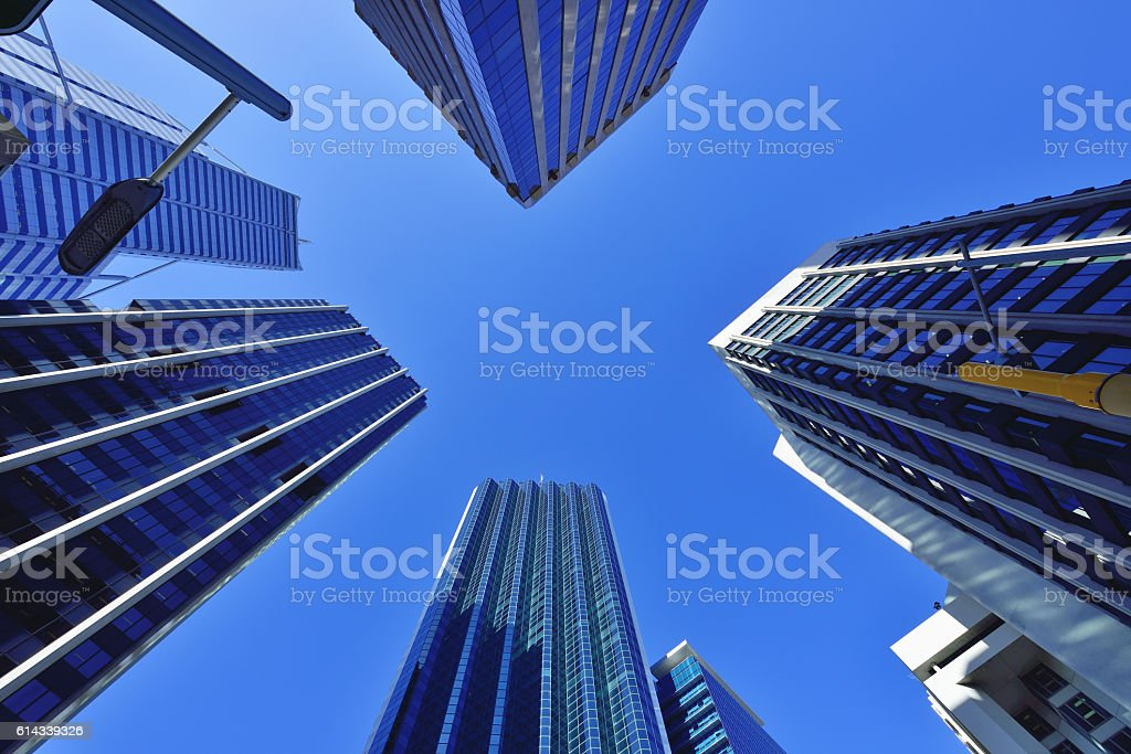 Low angle view of skyscrapers into the sky stock photo