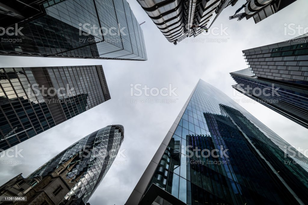 Low angle view of skyscrapers. Looking up perspective. Bottom view of...