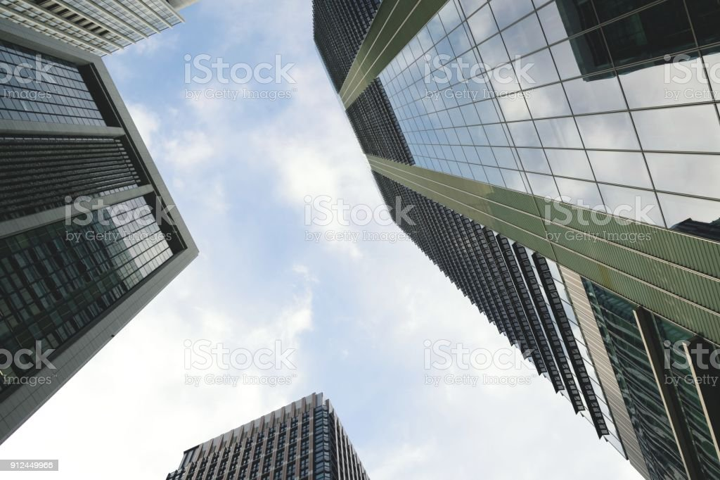 Low angle view of office towers in downtown Tokyo.