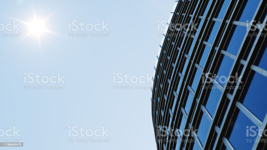 Low angle view of skyscrapers. Skyscrapers looking up perspective....