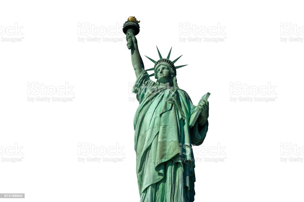 Low angle view of Statue of Liberty in New York stock photo