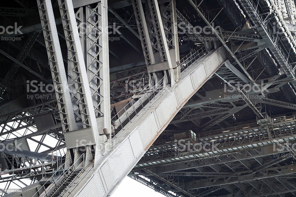 Low angle view of steel structure and beams under bridge royalty-free stock photo