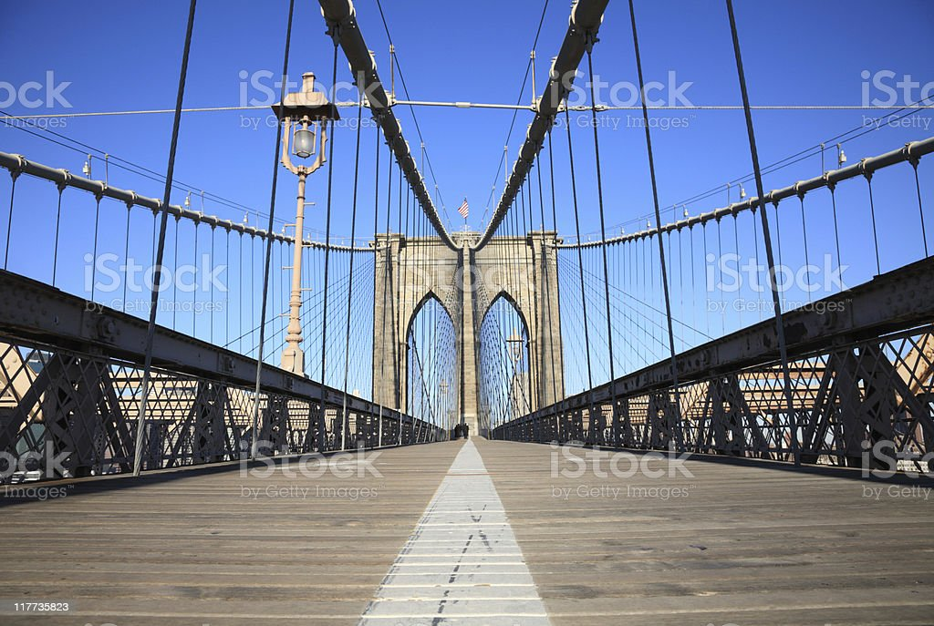 Low Angle View of the Brooklyn Bridge royalty-free stock photo