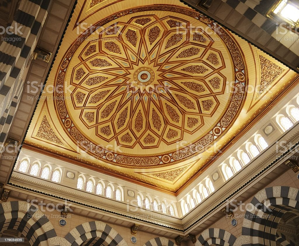 Low angle view of the ceiling in the Makkah Kaaba mosque royalty-free stock photo