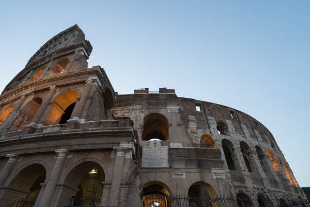 low angle view of the colosseum - low angle view foto e immagini stock