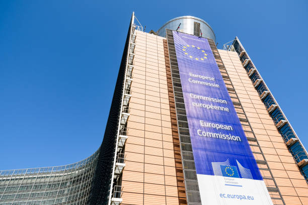 Low angle view of the large banner on the facade of the southern wing of the Berlaymont building, seat of the European Commission in Brussels, Belgium. Brussels, Belgium - April 19, 2019: The Berlaymont building in the European Quarter houses the headquarters of the European Commission, the executive of the European Union (EU), since 1967. berlaymont stock pictures, royalty-free photos & images