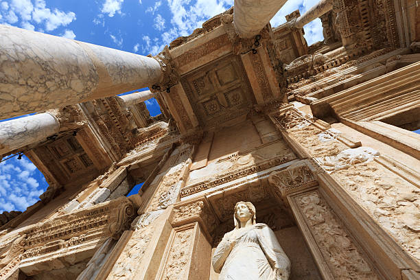 Low angle view of The Library of Celus in Ephesus, Turkey The Library of Celsus, built in A.D. 135, in the ancient city of Ephesus. XXXL ancient greece stock pictures, royalty-free photos & images