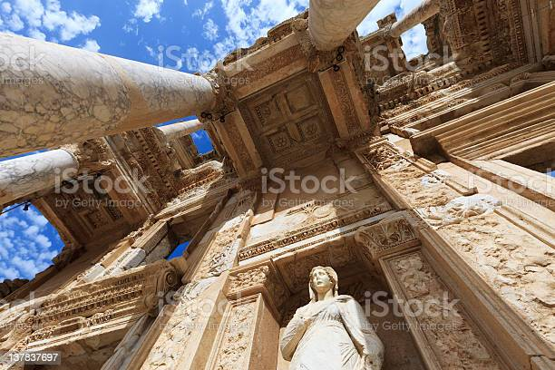 Low angle view of The Library of Celus in Ephesus, Turkey The Library of Celsus, built in A.D. 135, in the ancient city of Ephesus. XXXL Anatolia Stock Photo