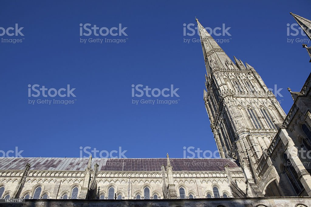 Low angle view of the Salisbury Cathedral Tower stock photo