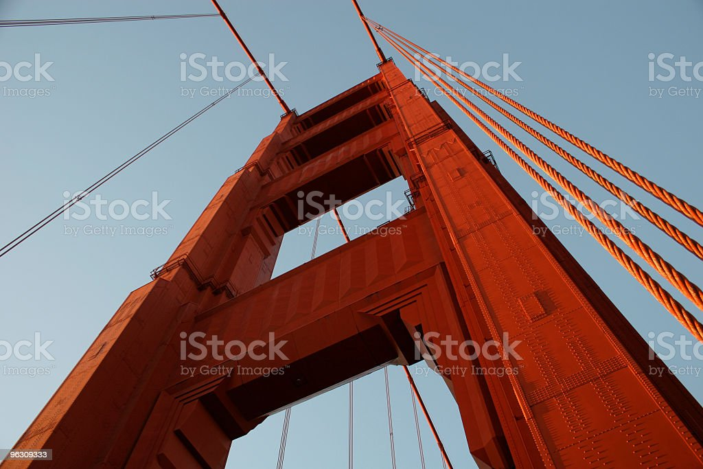 Low angle view of the San Francisco Golden Gate Bridge royalty-free stock photo