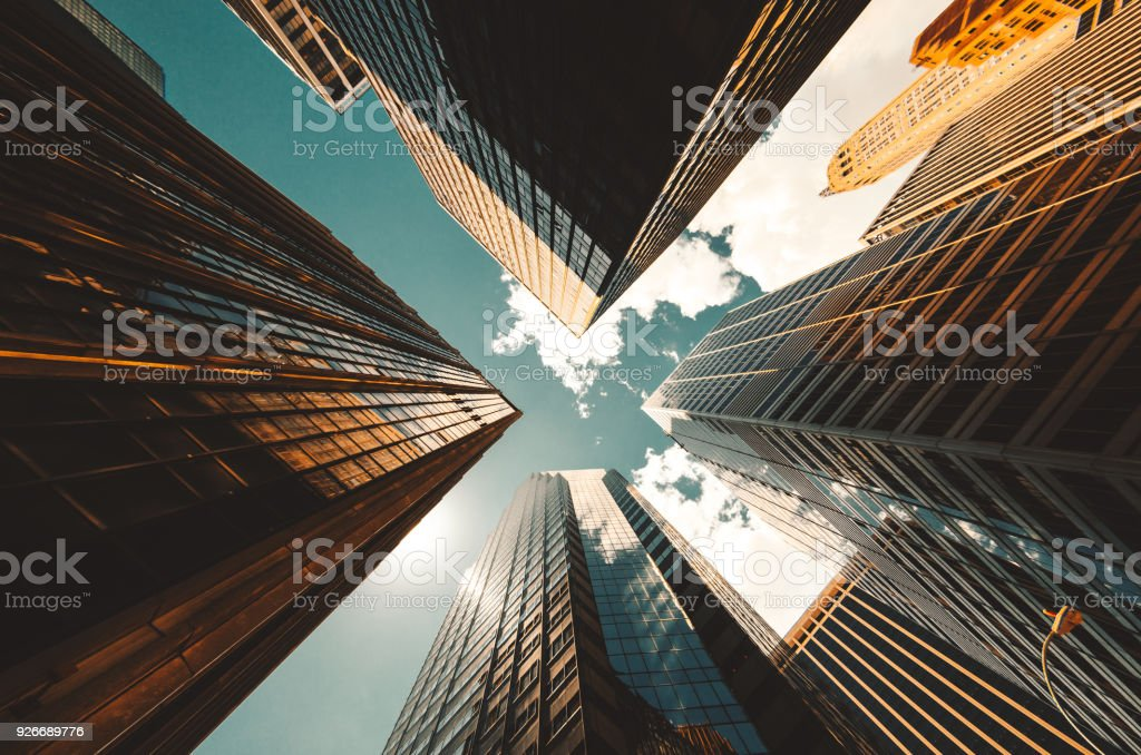 low angle view of the skyscrapers in nyc royalty-free stock photo