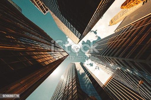 low angle view of the skyscrapers in nyc