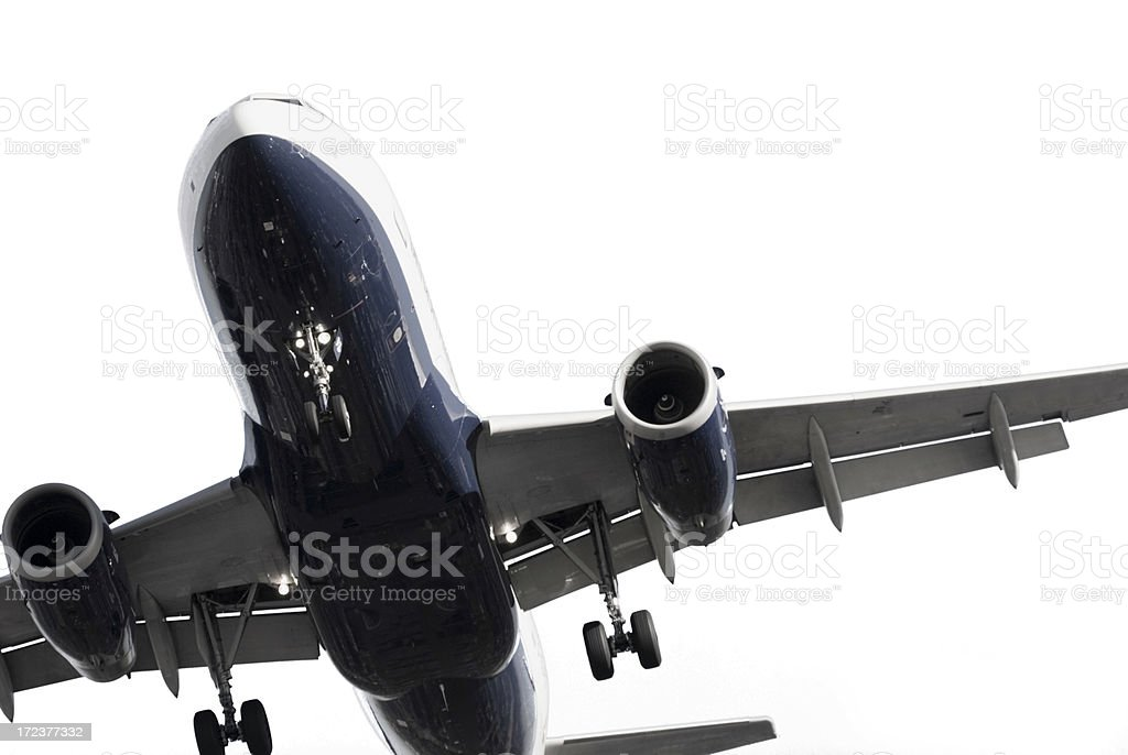 low angle view of the underside of a airplane stock photo