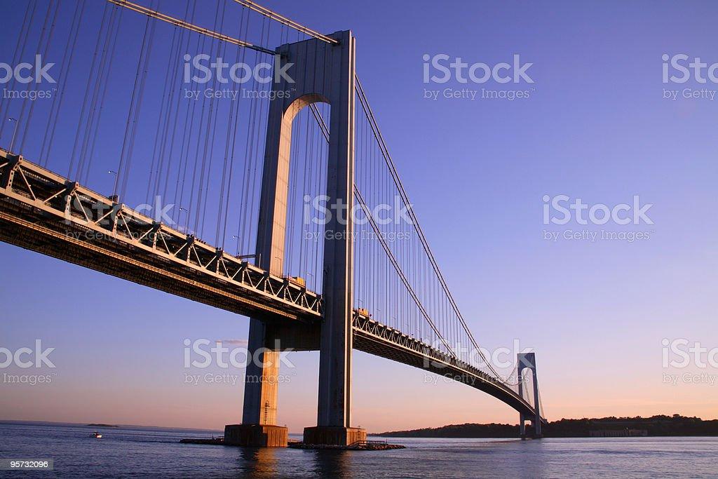 Low angle view of the Verrazano-Narrows bridge at dusk royalty-free stock photo