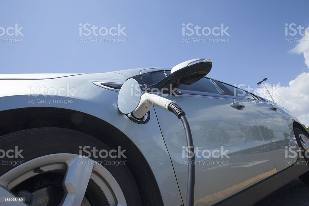 low angle view on electric car stock photo