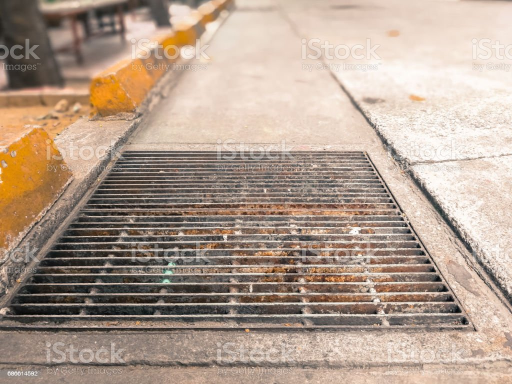 Low angle view on footpath with selective focus royalty-free stock photo