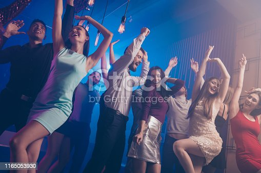 Low angle view photo of charming elegant people person move motion close, eyes delighted dress trendy stylish beautiful amuse loud place discotheque