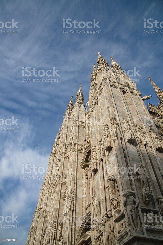 Low angle view to Doumo of Milan royalty-free stock photo
