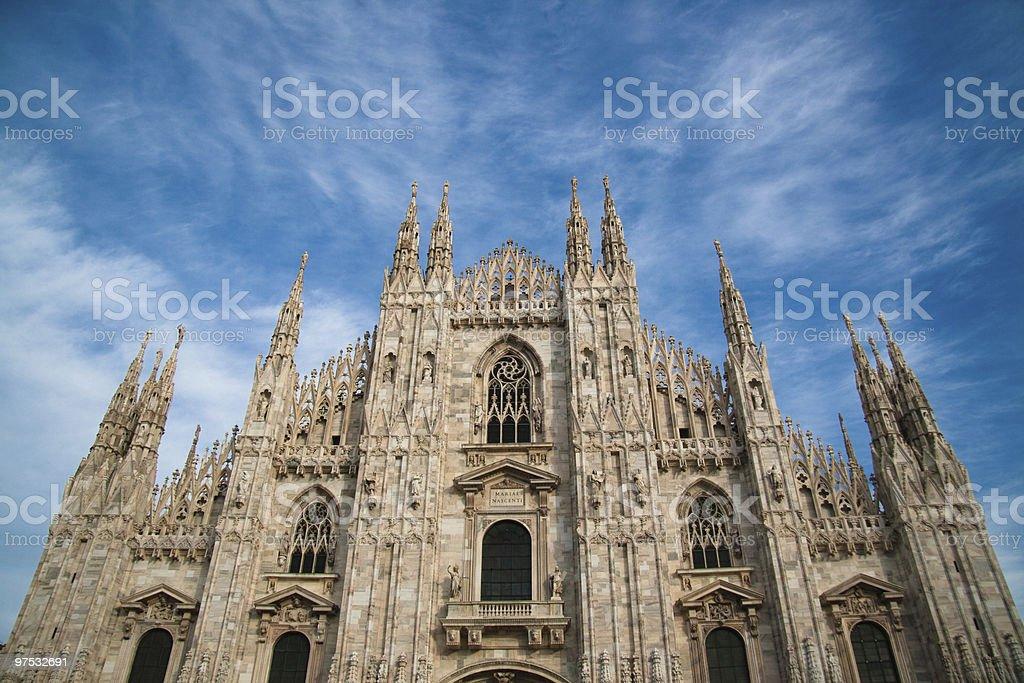 Low angle view to Duomo of Milan royalty-free stock photo