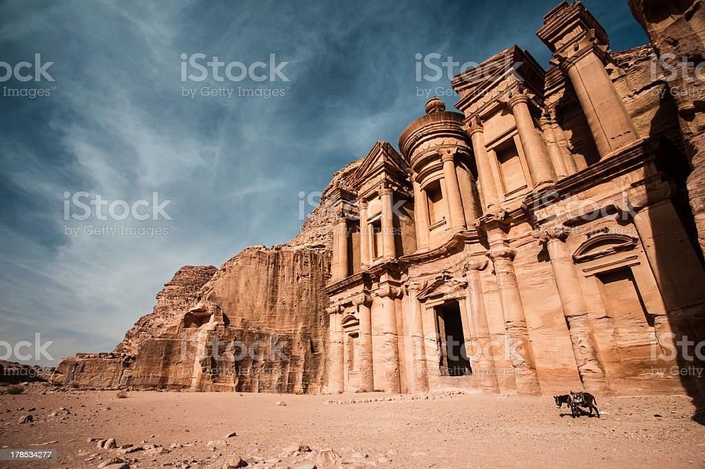Low angled photograph of The Monastery in the ancient Petra stock photo