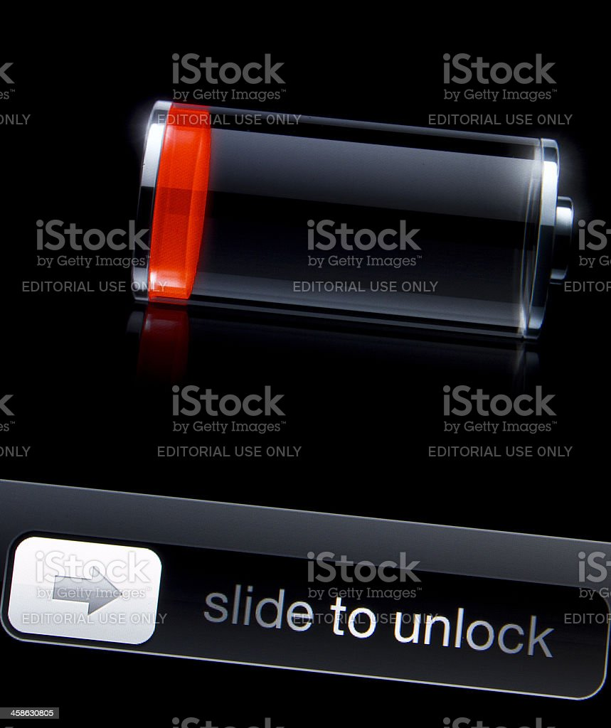 Low battery icon on iPhone 4S screen royalty-free stock photo