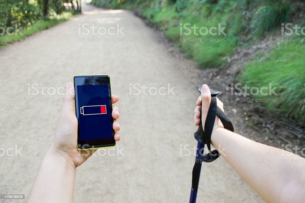 low battery in mountain stock photo