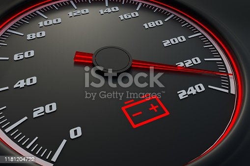 istock Low battery light on car dashboard 1181204722