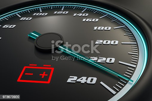 istock Low battery light on car dashboard 973673920