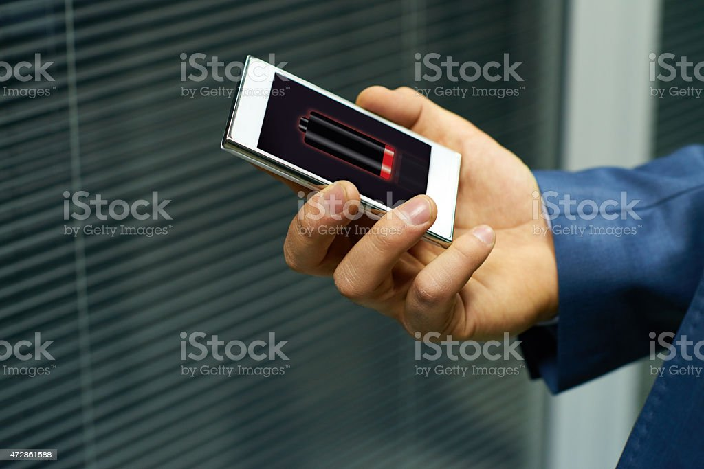 Low battery warning stock photo