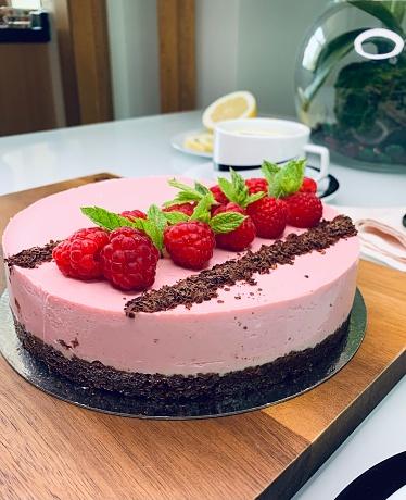 Taken on Mobile Device  homemade raspberry cake