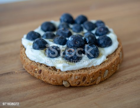 Low calorie treat biscuit with cottage cheese, blueberries and honey