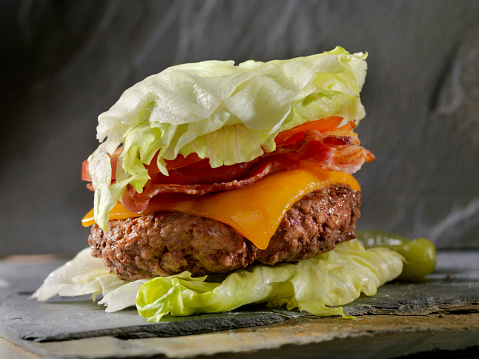 Low Carb Lettuce Wrap Bacon Cheeseburger Stock Photo - Download Image Now