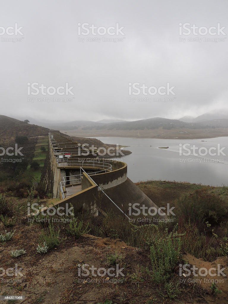 Low cloud cover over the Sutherland Dam stock photo
