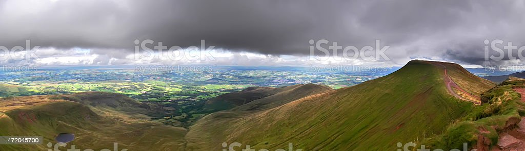 Low Cloud in the Brecon Beacons stock photo
