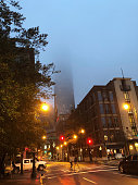 Winter in downtown Atlanta with low clouds covering the top portion of skyscrapers