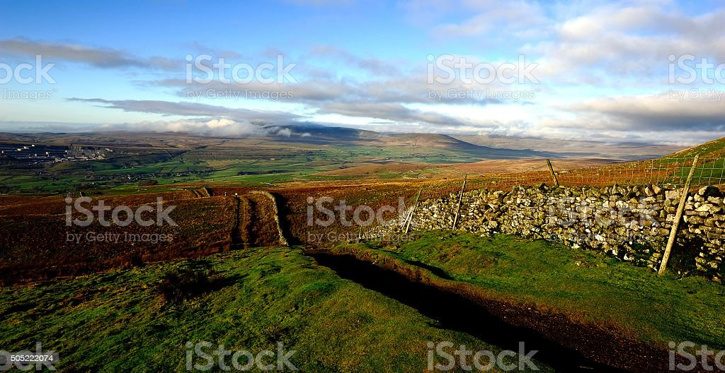 Low clouds over Ingleborough stock photo