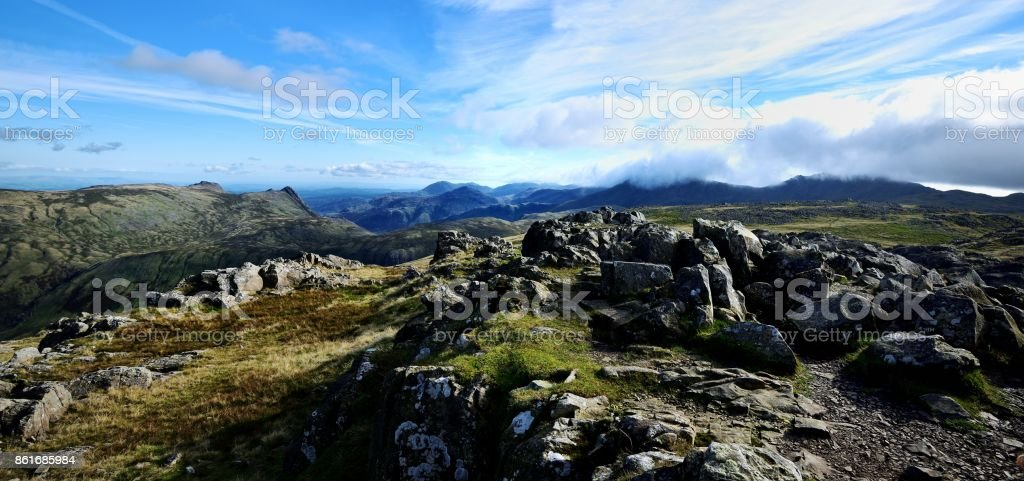 Low clouds over the Crinkles stock photo