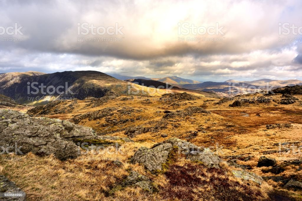 Low clouds over the Eastern Fells stock photo