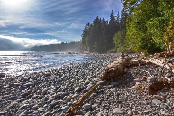 Low Clouds West Sombrio Beach Juan De Fuca Marine Trail Vancouver Island BC Canada stock photo