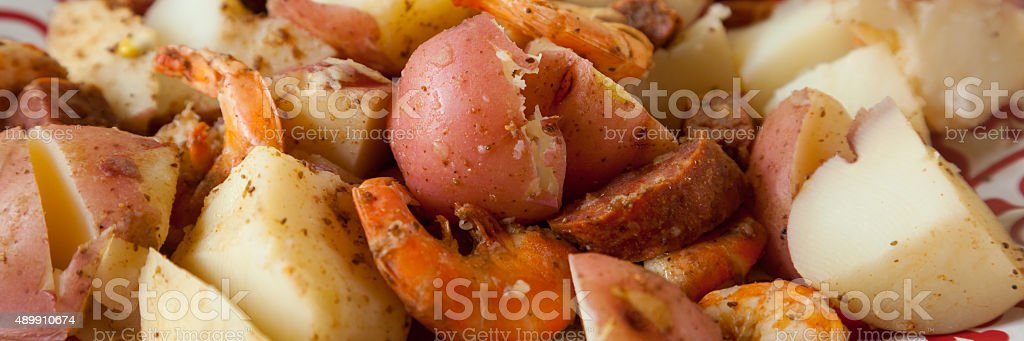 Low Country Boil Panorama stock photo