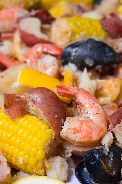 Low Country Boil Shrimp stock photo