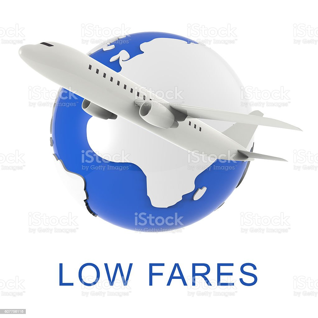 Low Fares Shows Discounts Airfare And Promotional 3d Rendering stock photo